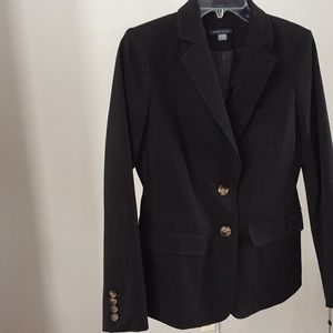 NWT TOMMY HILFIGER BLACK BLAZER w/brown buttons S4
